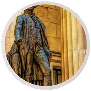 Washington Statue - Federal Hall #2 Round Beach Towel