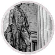Washington Statue - Federal Hall #3 Round Beach Towel