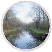 Washingtons Crossing - Along The Delaware Canal Round Beach Towel
