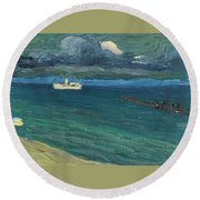 Wassily Kandinsky 1866 - 1944 Rapallo, Seascape With Steamer Round Beach Towel