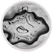 Wasted Time Bw Round Beach Towel