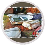 Wat-0012 Tender Boats Round Beach Towel