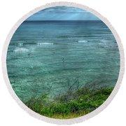 Watching From Afar Kuilei Cliffs Beach Park Surfing Hawaii Collection Art Round Beach Towel