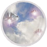 Watch The Sky Round Beach Towel