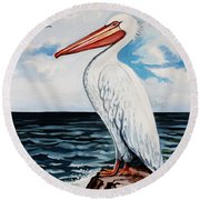 Watcher Of The Sea Round Beach Towel