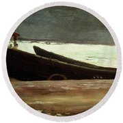 Watching A Storm On The English Coast Round Beach Towel