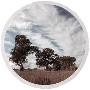 Watching Clouds Float Across The Sky Round Beach Towel