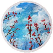 Watching Clouds Go By Round Beach Towel