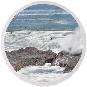 Watching For Akaw  Round Beach Towel