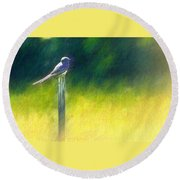 Watching For Supper Round Beach Towel
