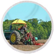 Watching Her Plow Two  Round Beach Towel