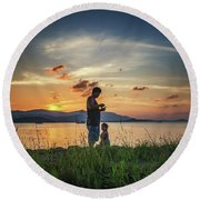 Watching Sunset With Daddy Round Beach Towel