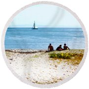 Watching The Boats Pass By Round Beach Towel