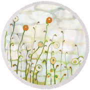 Watching The Clouds Go By No 2 Round Beach Towel by Jennifer Lommers