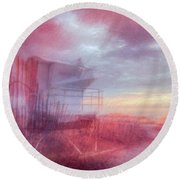 Watching The Day Begin In Watercolors Round Beach Towel