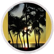 Watching The Hawaiian Sunset  Round Beach Towel