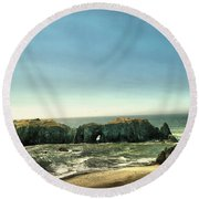 Watching The Rocks And Waves Round Beach Towel