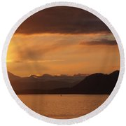Watching The Sun Rise Over Mt. Baker Round Beach Towel