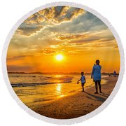 Watching The Sunset Round Beach Towel