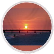 Watching The Sunset Round Beach Towel by Sandy Keeton