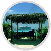 Watching The World Go By Round Beach Towel