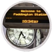 Watching Time At The Station Round Beach Towel