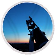 Watchnig The Sky, Astronomy Telescope Against Evening Sky And Moon Round Beach Towel
