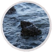 Water And A Rock Round Beach Towel