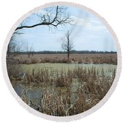 Water And Cattails Round Beach Towel