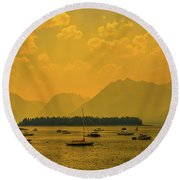 Water And Fire At Leeks Marina Round Beach Towel