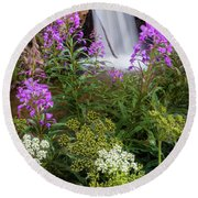 Water And Flowers Round Beach Towel