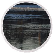 Water And The Ice - Icy River Danube Round Beach Towel