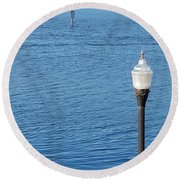 Water And Light Round Beach Towel