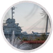 Water And Metal Round Beach Towel