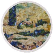 Water And River Delta  Round Beach Towel