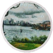 Water And Scenery Round Beach Towel