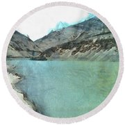 Water Body In The Himalayas Round Beach Towel