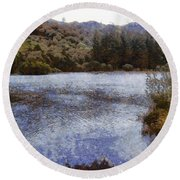 Water Body Surrounded By Greenery Round Beach Towel