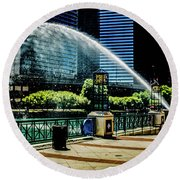 Water Canon In Color Round Beach Towel