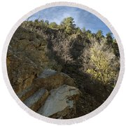 Water Canyon Sky View Round Beach Towel