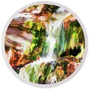 Water Cascading Round Beach Towel