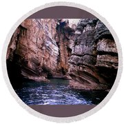 Water Caves - Italy Round Beach Towel