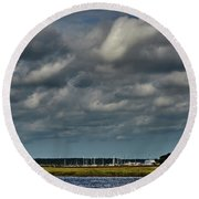 Water, Clouds And Sun. Round Beach Towel