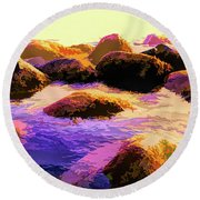Water Color Like Rocks In Ocean At Sunset Round Beach Towel