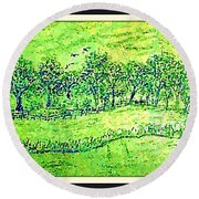 Water Color Of Apple Orchard Farm Round Beach Towel