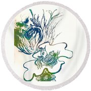 Water Color Poster Of Good And Evil Round Beach Towel