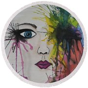 Water Colour - Face Round Beach Towel