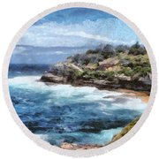 Water Cove With Rocky Cliffs Round Beach Towel