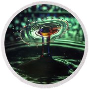 Water Drop Collision Round Beach Towel