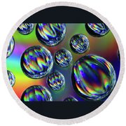 Water Droplets 4 Round Beach Towel